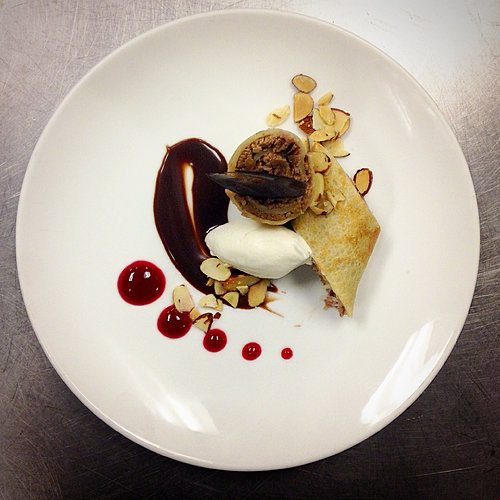 Chocolate Coconut Crepe Roulade