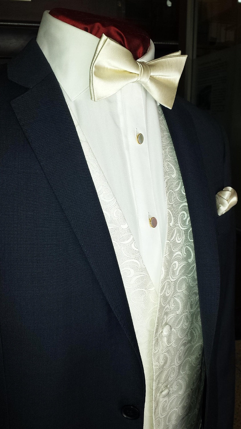... matching hankie. Dress shirt with Mother of Pearl Studs and Cufflinks