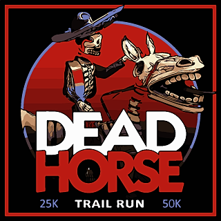 race logo: Mexican-style skeleton rider on skeleton horse.