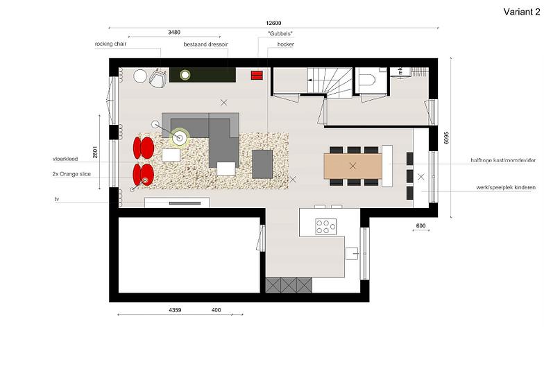 Berns Interieur-architectuur | Prj Ontwerp indeling woonkamer
