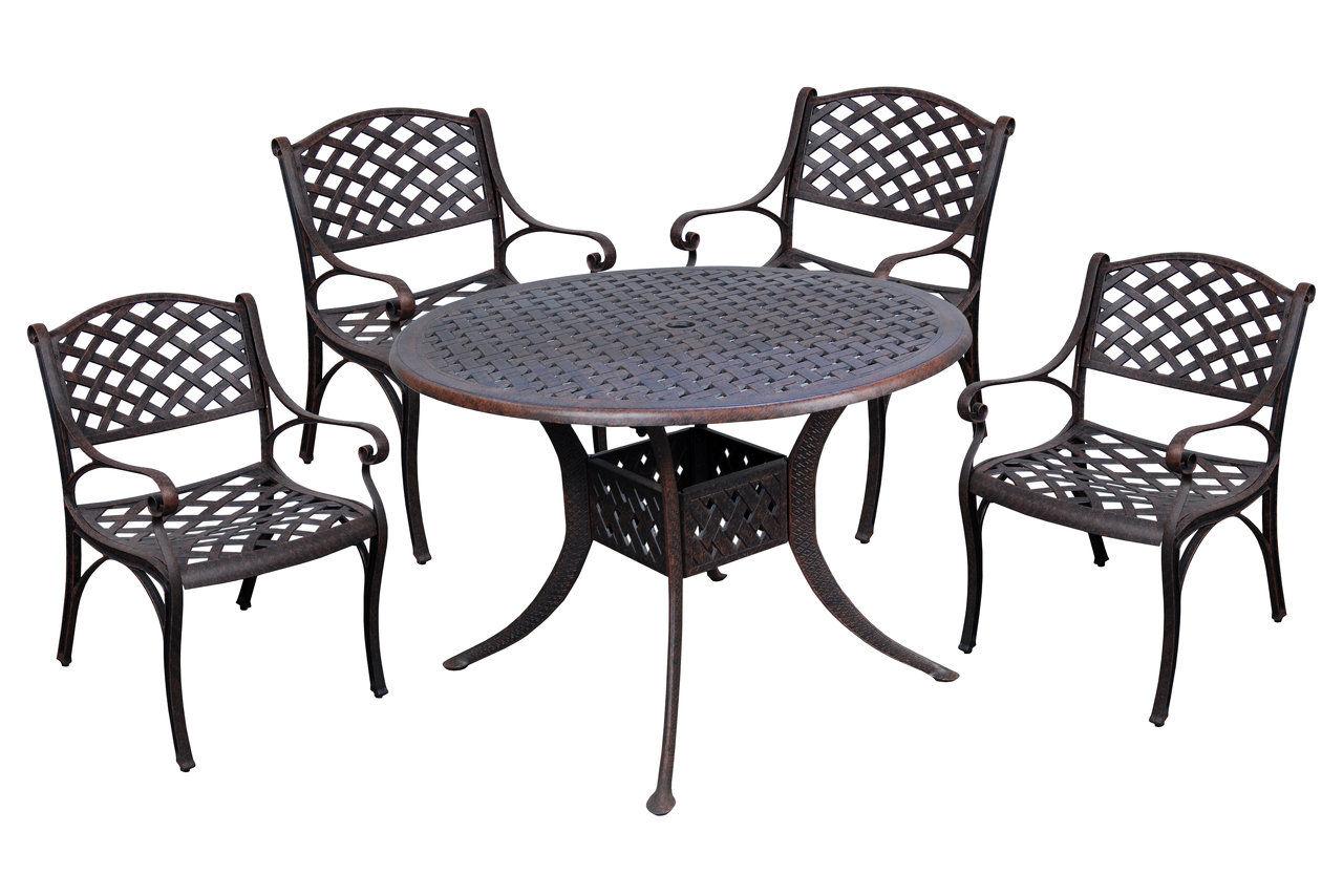 Great 5 Pc Metal Dining Set (Brown)