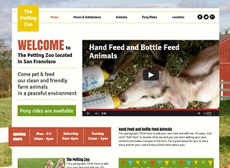 Petting Zoo Template - With its warm colors and generous space for photos and videos, this template is the ideal advertising platform for your petting zoo or local attraction. Start editing to promote your rates, share images of your star animals, and showcase your special attractions.