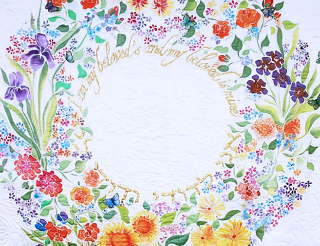 Hand painted silk, quilted Huppah
