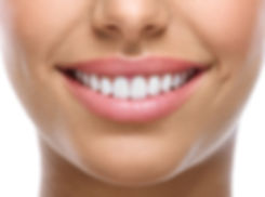 closeup of smile with white healthy teet