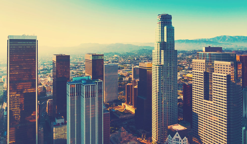 Aerial view of a Downtown Los Angeles at