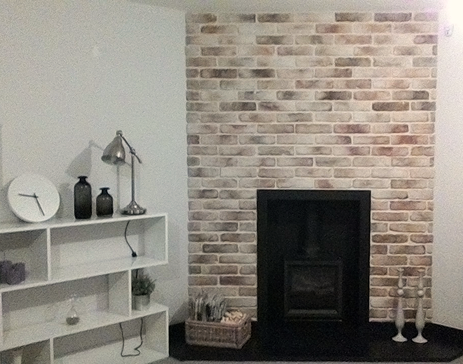 Brick chimney breast easy fit brick slips uk feature for Tiled chimney breast images
