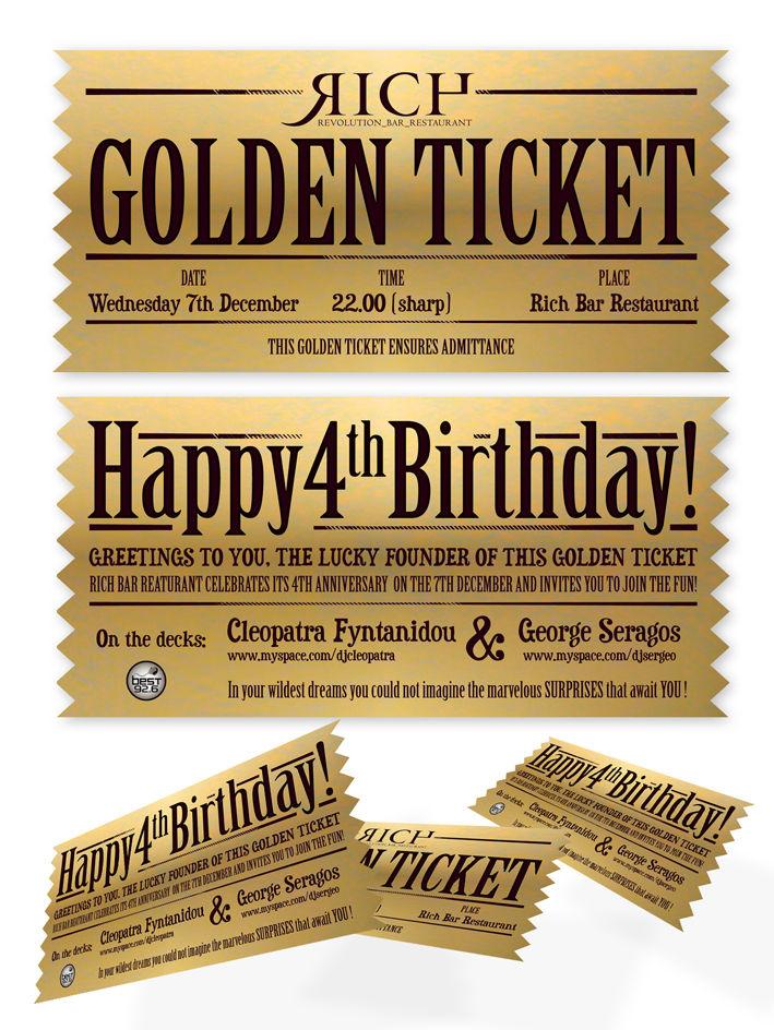 Excellent golden ticket birthday invitations photos invitation 2insart portfolio graphic design illustrator illustration filmwisefo Images