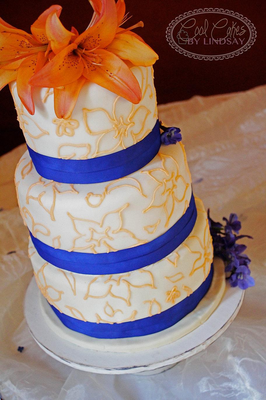 Blue And Orange Wedding Cake