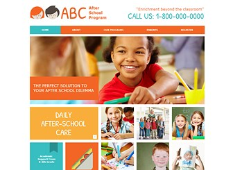 After School Program Template - Bright colors and fun fonts make this kid-friendly template perfect for your daycare or afterschool program. Edit the text to tell parents about your programs, philosophy, and qualifications. Upload photos and customize the design to create a website that's truly your own.