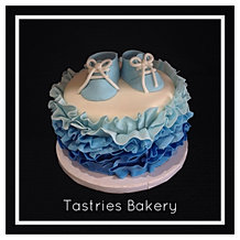 Blue Ruffled One-Tier Baby Cake