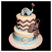 Blue/Grey Chevron Elephant Cake