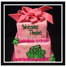 Pink Froggy Baby Cake
