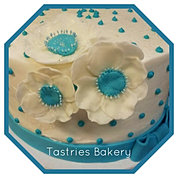 Teal and White Flower Cake