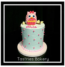 Quilted Owl Baby Shower Cake