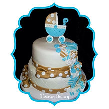 Blue Button Baby Boy Cake