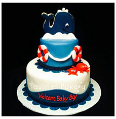 Nautical Whale Baby Shower Cake