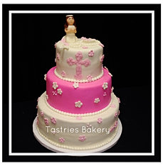 Pink Baptism Celebration Cake