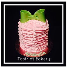 Pink Ruffle Cake with a Green Bow