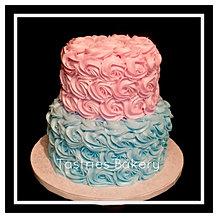 He or She Rosette Baby Cake