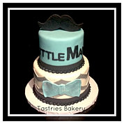 Little Mr. Teal Chevron Baby Cake