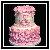 Pink Ruffled ITS A GIRL Baby Cake