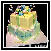 Baby Reveal Pastel Present Cake