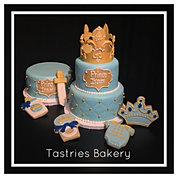 Blue and Gold Baby Prince Cake