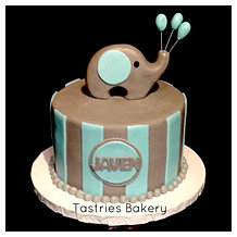 Teal and Grey Baby Elephant Cake