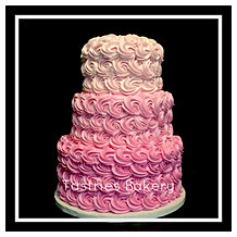 3-Tiered Pink Ombre Rosette Cake
