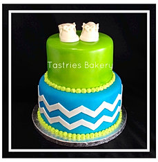 Green and Blue Baby Boy Cake