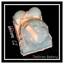 Blue Polka Dot Baby Bump Cake