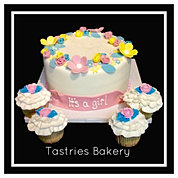 It's a Girl Spring Flower Baby Cake