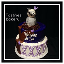 Purple Owl Baby Shower Cake