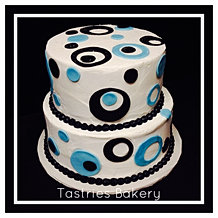 Blue Black and White Cake