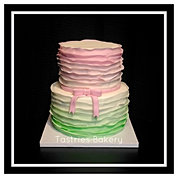 Soft Ombre Ruffled Cake