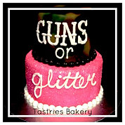 Guns or Glitter Baby Reveal Cake
