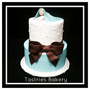 Blue and Brown Quilted Baby Boy Cake