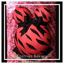 Pink Zebra Baby Bump Cake