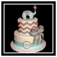 Its a BOY Blue and Grey Elephant Cake