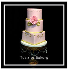Pink and Gold Feminine 3 Tiered Cake