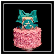 Pink Rosette, Grey Chevron, Teal Bow