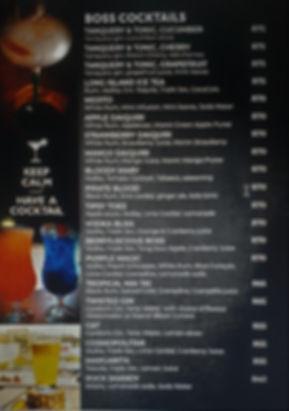 cocktails menu