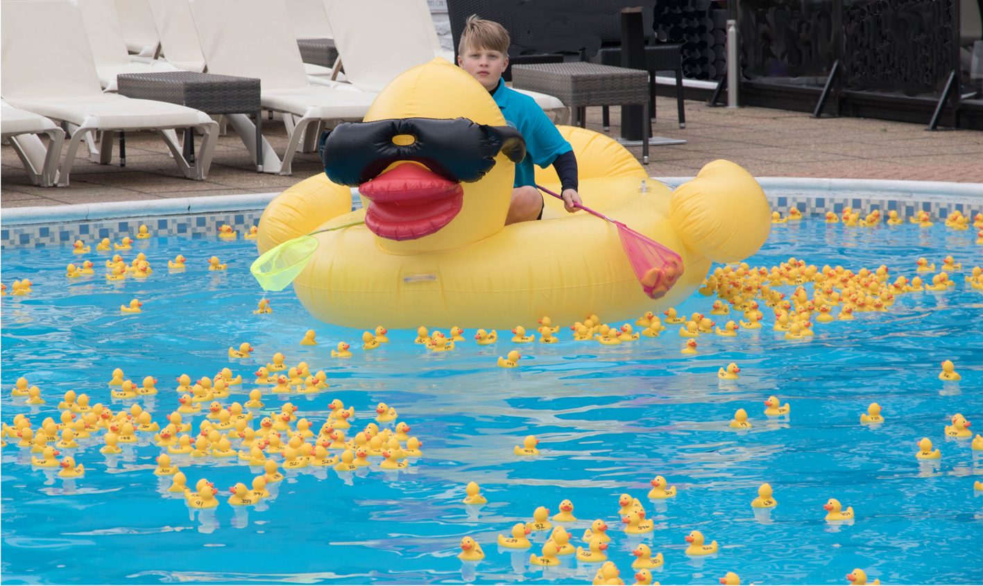 Hotels raise 3590 with giant net a duck party dorset for Pool floats design raises questions