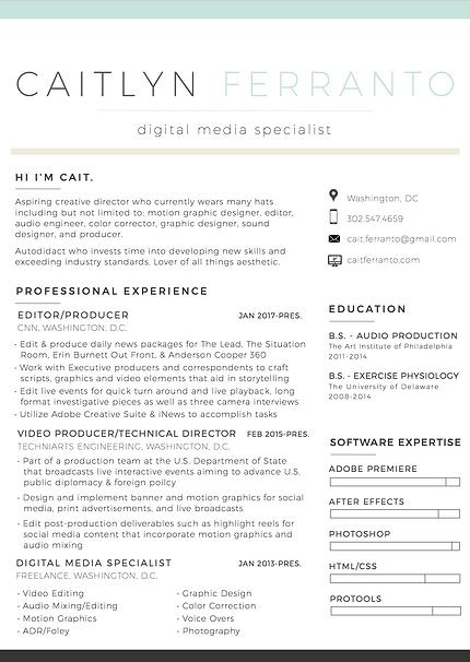 Cait Ferranto  Digital Media Resume