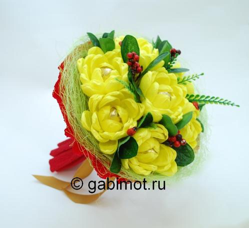 Как сделать из бумаги и конфет хризантему 148