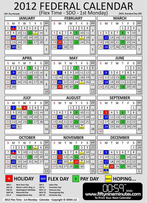 2012 Pay Period Calendar Federal Government | Calendar Template 2016