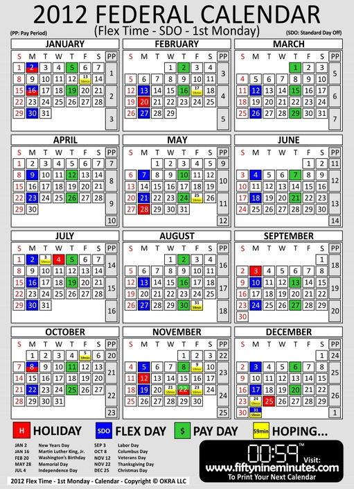 Pay Period Calendar 2012 Federal Government   Calendar Template 2016