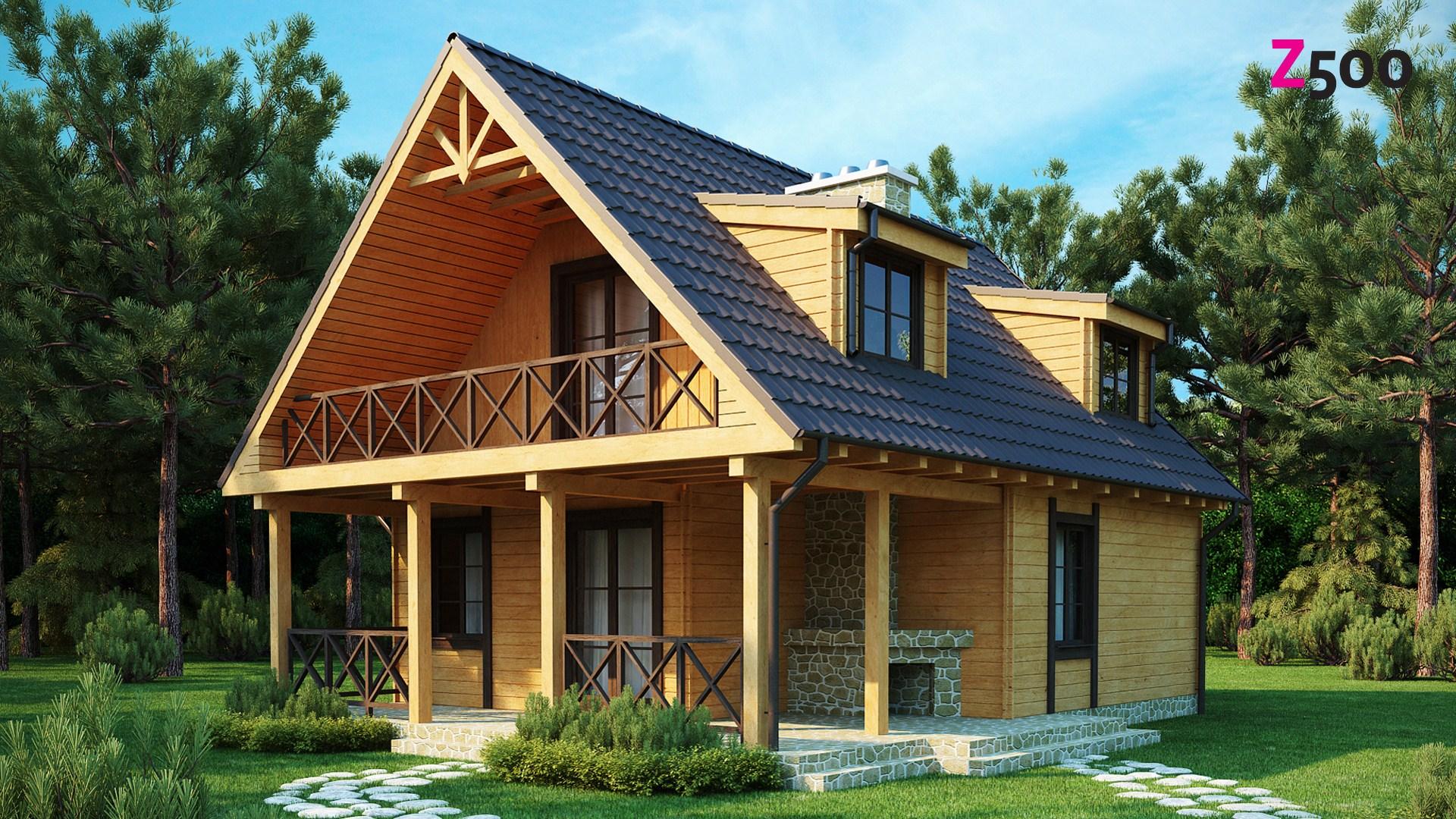 Проект мансардного дома из клееного бруса m14-152-1 тцст.