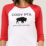 Cody PTA t-shirt with red sleeves and black buffalo image