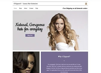 Luxury Hair Extensions Template - Start selling your range of luxury beauty products with this chic and elegant eCommerce template. With multiple galleries on the homepage to showcase your products, as well as an easy to customize product page, selling online has never been easier. Simply upload product images and personalize the text and watch as your business grows!
